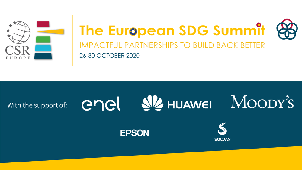 The 2020 European summit on the 2020 SDGs will go online from the 26 to the 30 of October 2020