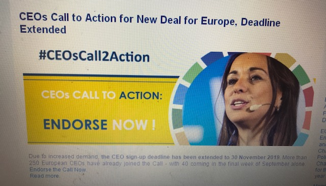 "Le imprese e lo Sviluppo Sostenibile. Prorogata al 30 novembre l'adesione alla ""CEO Call for a New Deal for Europe"""