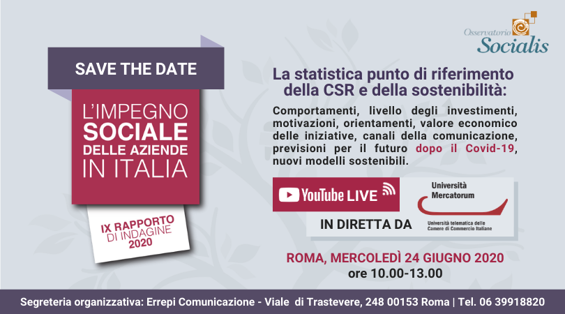 CSR - SAVE THE DATE: THE SOCIAL COMMITMENT OF COMPANIES IN ITALY